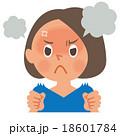 女性 表情 怒るのイラスト 18601784