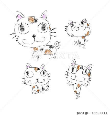 子供のいたずら書きイメージ かわいい猫のイラスト手描き風素材のイラスト素材