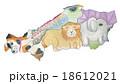 地図の動物 中国5県 水彩色鉛筆画 18612021