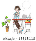 パソコン カフェ 女性のイラスト 18613118