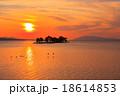 宍道湖 夕日 夕景の写真 18614853