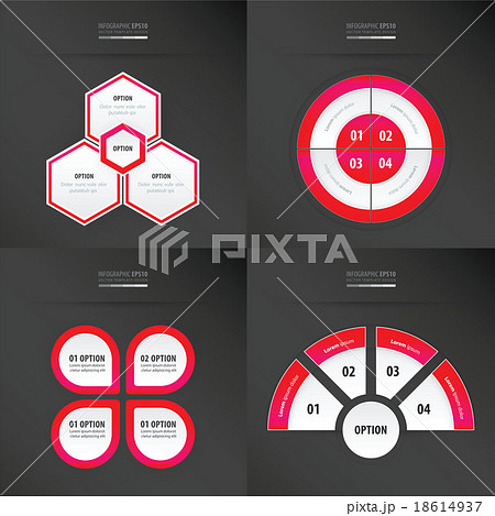 template design 4 item   neon pink colorのイラスト素材 [18614937] - PIXTA