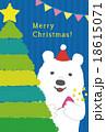 クリスマスカード ツリーとしろくま 18615071