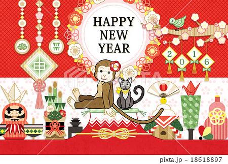2016年申年完成年賀状テンプレート「猿と猫と縁起物」HAPPYNEWYEAR 18618897
