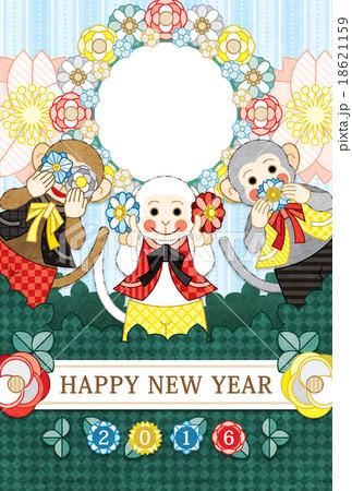 2016年申年完成年賀状テンプレート「花三猿」HAPPYNEWYEAR写真フレーム 18621159