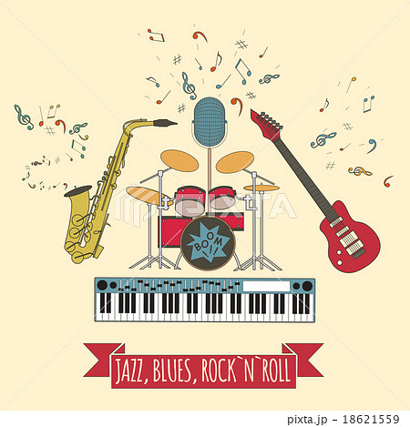 musical instruments graphic template rock n rollのイラスト素材