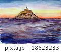 モンサンミッシェルの水彩画 18623233