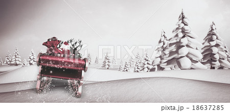 Composite image of santa flying his sleighの写真素材 [18637285] - PIXTA