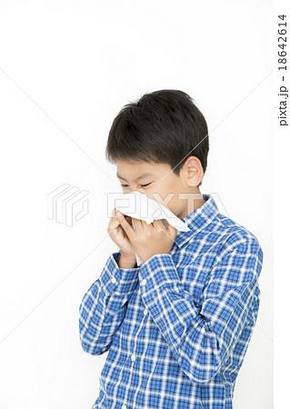 鼻をかむ男の子 顔アップ ティッシュ 小学生 中学生 くしゃみをする男の子 18642614