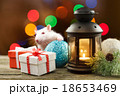 Cute white rat among Christmas decorations 18653469