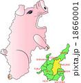 地図の動物 中部 長野 ブタくん 18660001