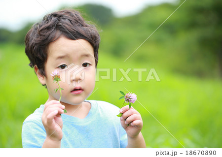 お花を摘む男の子 18670890
