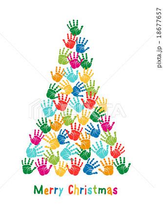 hand print christmas tree vectorのイラスト素材 18677657 pixta