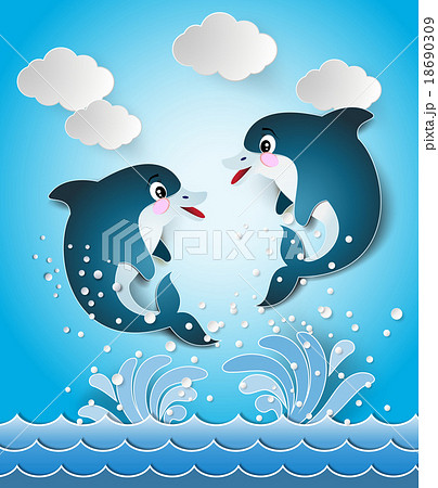 Illustration of the dolphins in seascape  18690309