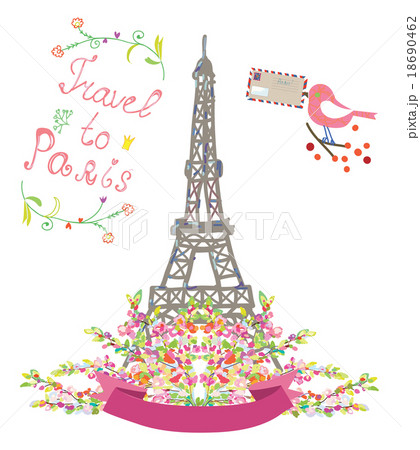 travel to paris cute poster with flowers and birdのイラスト素材