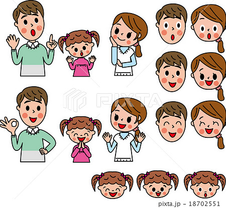 家族 ファミリー 秋冬 笑顔 表情 動作 セット  18702551