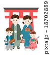 家族 着物 初詣のイラスト 18702889