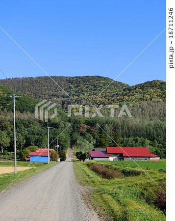 北海道 鮮やかな建物と田舎道 18711246