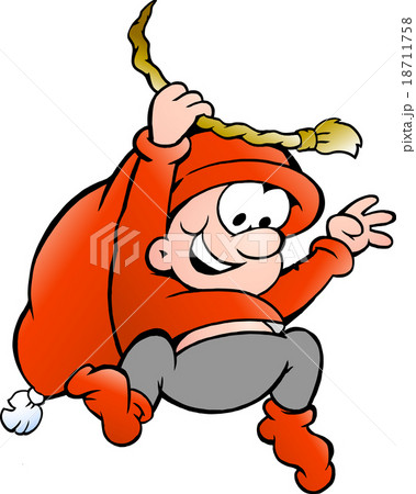 Vector illustration of elf swinging on a rope 18711758