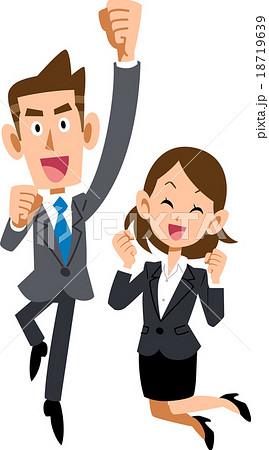 跳び上がって喜ぶビジネスマンとビジネスウーマン 18719639