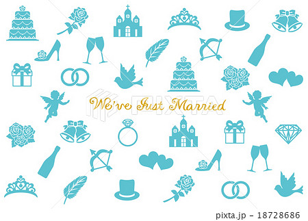 結婚報告はがきのイラスト素材 18728686 Pixta