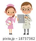 タブレットを使いながら会話する医者と看護師 18737362