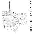 尾道風景墨絵 18743465