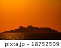 軍艦島と夕陽 18752509
