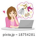女性 パソコン ネットショッピングのイラスト 18754281