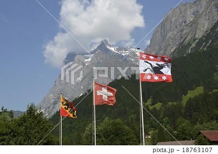 スイス国旗、ベルン州旗、グリンデルワルド市章 18763107