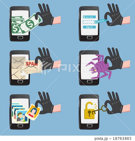 Online hacker activity on smartphone