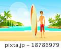 ビーチ 浜辺 男のイラスト 18786979