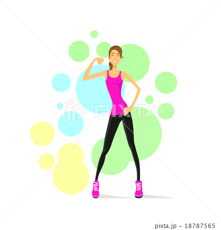 sport woman show bicep muscles fitness trainerのイラスト素材