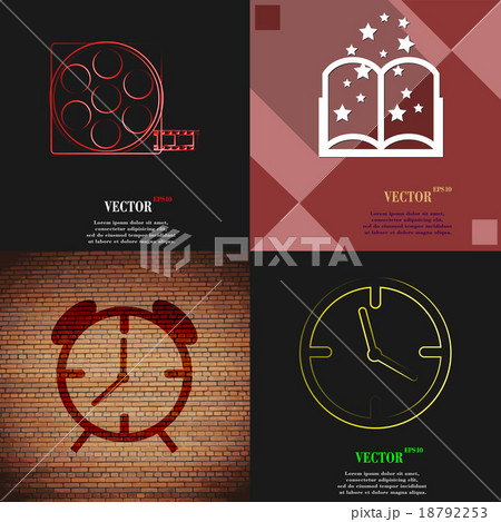 Set of abstract backgrounds with different web icoのイラスト素材 [18792253] - PIXTA