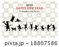 桃太郎と猿の行進 賀詞・添書付 18807586