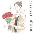 バラの花束を持った女性 18808579