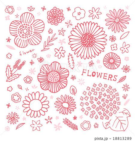 手書きお花セットのイラスト素材 1132