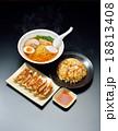 注意)黒背景に小ゴミ・傷が残ります。湯気はレタッチ合成です。中華料理3品(ラーメン、炒飯、餃子)。 18813408