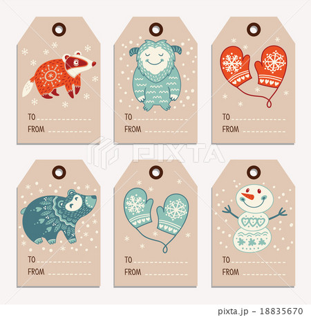 christmas and new year gift tags stickers labelsのイラスト素材