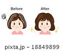 女性 白髪 イラスト before after  18849899