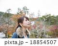 京都府京都市左京区の南禅寺の紅葉の風景を背景にしている若い女性 18854507