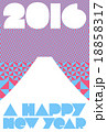 富士山と幾何学模様と文字の年賀状2016 18858317