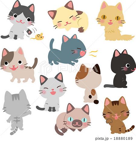 猫のイラストセットのイラスト素材 18880189 Pixta
