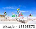 ウユニ塩湖にある各国の国旗 18895573