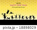 桃太郎とサルの行進と金色の背景 賀詞・添書付 18898029