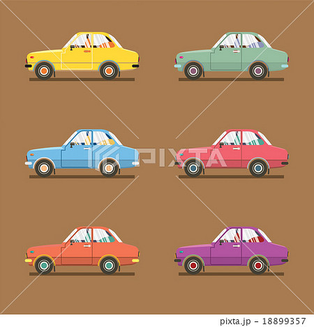 Side View Of Colorful Sedan Cars. 18899357