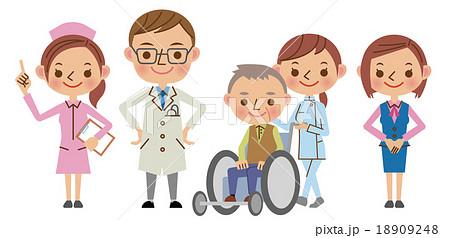 医療スタッフイメージ(医者・看護師・介護士・医療事務・患者) 18909248
