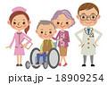 医療スタッフと患者イメージ(医者・看護師・老夫婦) 18909254