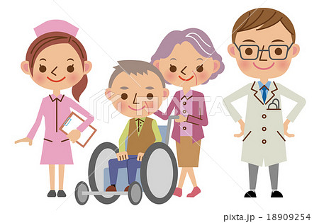医療スタッフと患者イメージ医者看護師老夫婦のイラスト素材