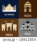 Indian historical and landmark flat icons 18912854